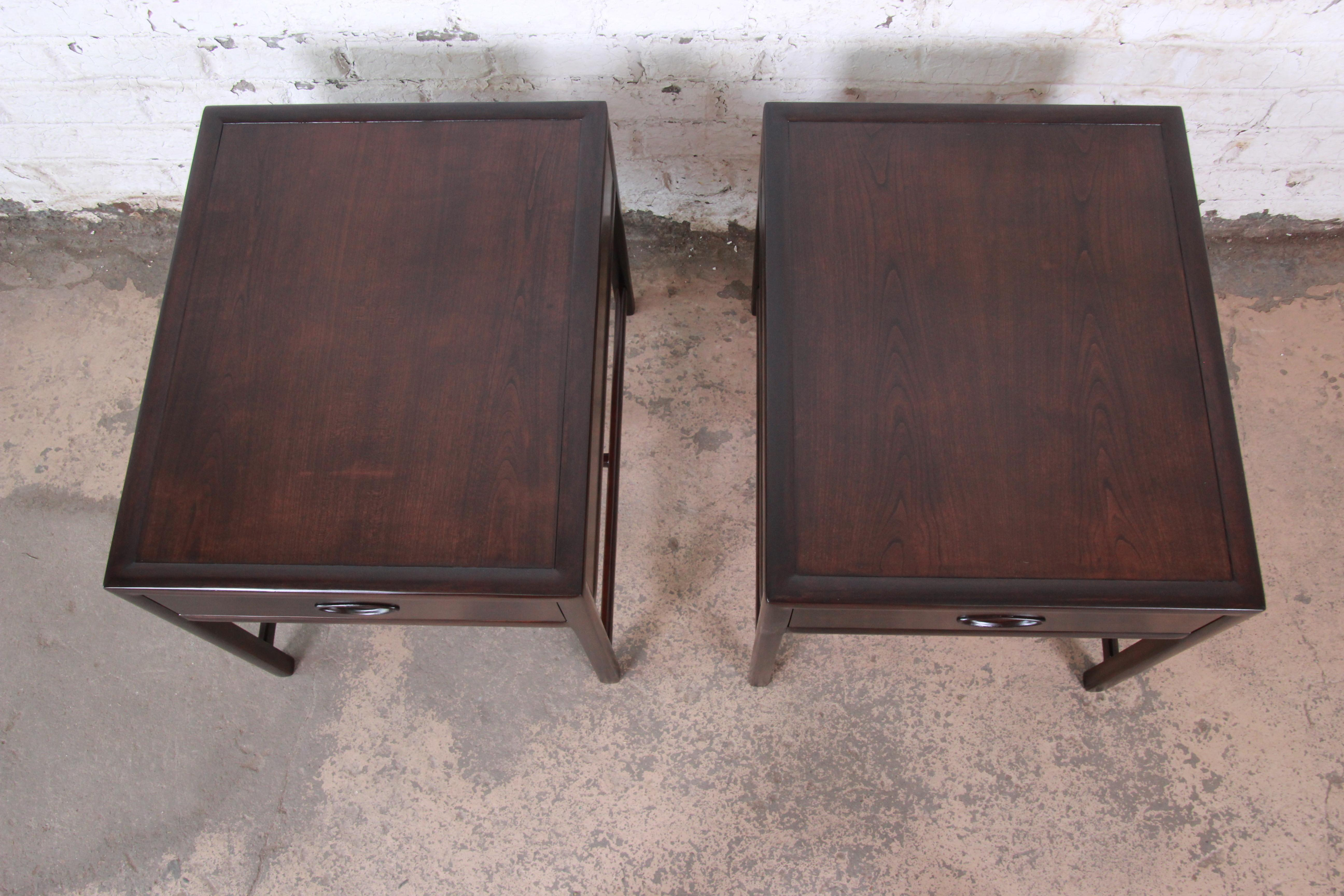 Michael Taylor For Baker Dark Cherry Nightstands Or End Tables Newly Restored