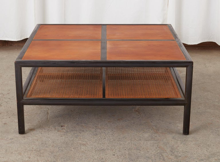 Mid-Century Modern Michael Taylor for Baker Ebonized Two-Tier Cocktail Table For Sale