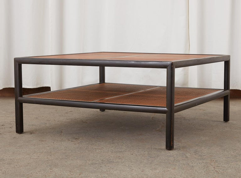 American Michael Taylor for Baker Ebonized Two-Tier Cocktail Table For Sale
