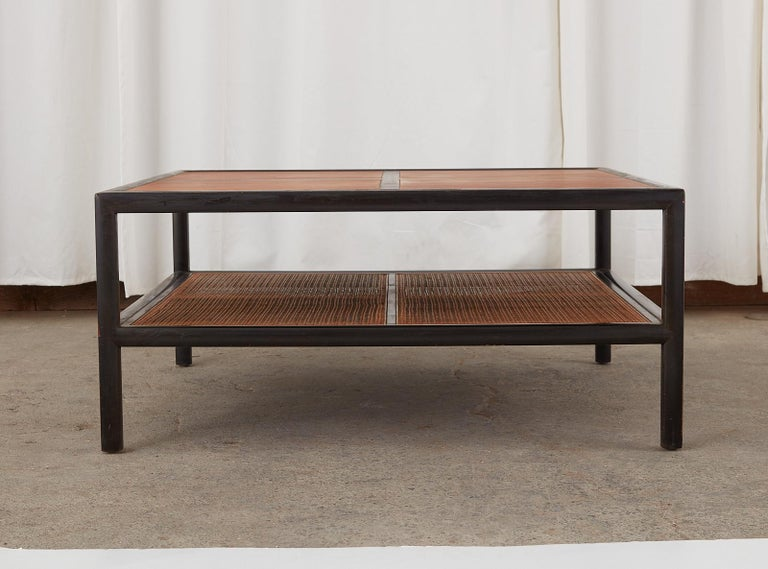 Michael Taylor for Baker Ebonized Two-Tier Cocktail Table In Distressed Condition For Sale In Rio Vista, CA
