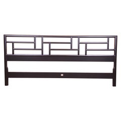Michael Taylor for Baker Far East Collection Black Lacquered King Size Headboard