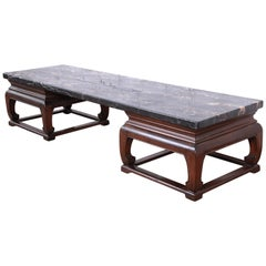 Michael Taylor for Baker Far East Collection Chinoiserie Marble Top Coffee Table