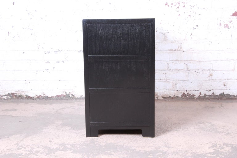 Michael Taylor for Baker Far East Collection Ebonized Bachelor Chest, Restored For Sale 3