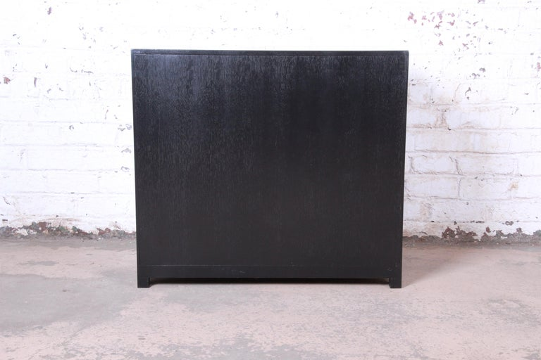 Michael Taylor for Baker Far East Collection Ebonized Bachelor Chest, Restored For Sale 4