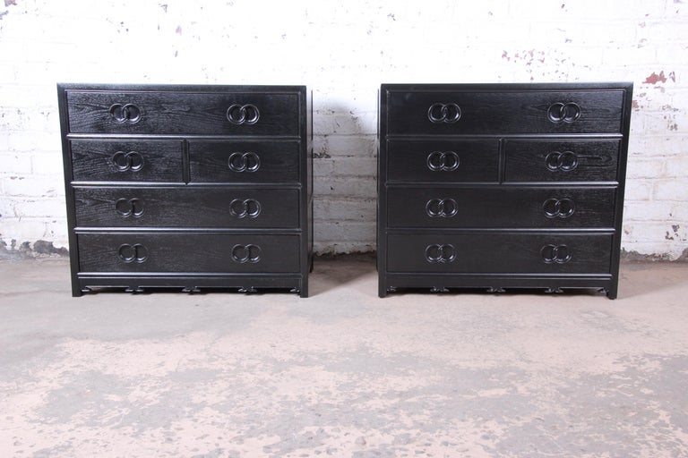 Michael Taylor for Baker Far East Collection Ebonized Bachelor Chest, Restored For Sale 6