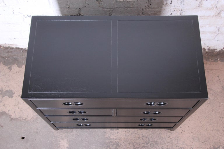 American Michael Taylor for Baker Far East Collection Ebonized Bachelor Chest, Restored For Sale