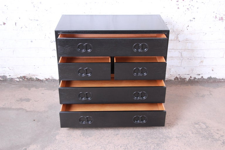 Michael Taylor for Baker Far East Collection Ebonized Bachelor Chest, Restored In Good Condition For Sale In South Bend, IN