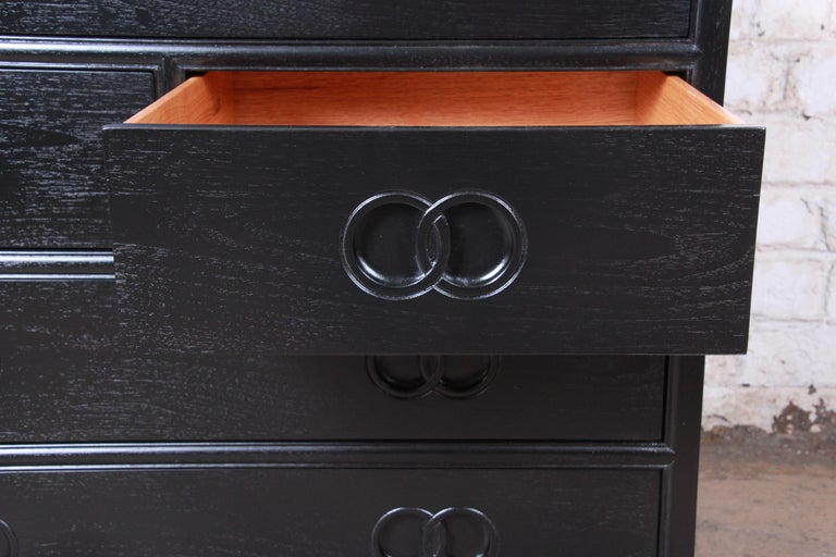 Michael Taylor for Baker Far East Collection Ebonized Bachelor Chest, Restored For Sale 1
