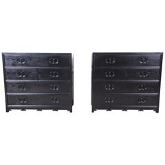 Michael Taylor for Baker Far East Collection Ebonized Bachelor Chests, Pair