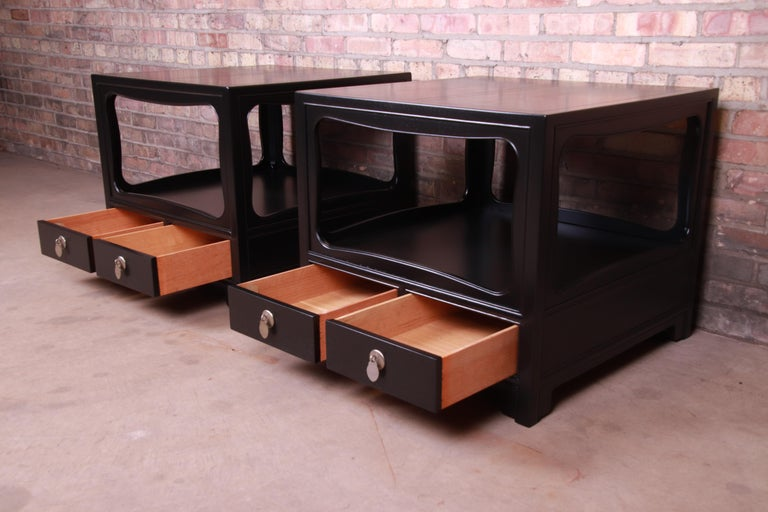 Michael Taylor for Baker Far East Collection Ebonized Nightstands, Restored For Sale 3