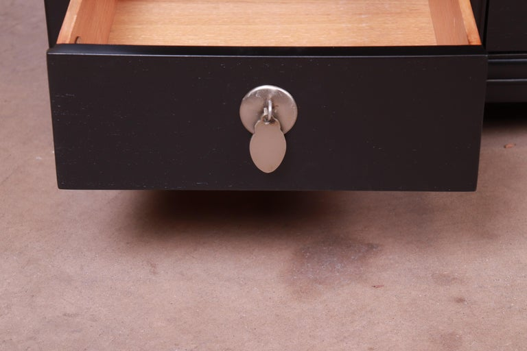 Michael Taylor for Baker Far East Collection Ebonized Nightstands, Restored For Sale 4