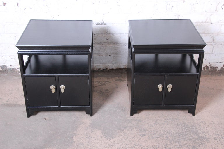 Michael Taylor for Baker Far East Collection Ebonized Nightstands, Restored In Good Condition For Sale In South Bend, IN