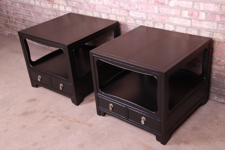 American Michael Taylor for Baker Far East Collection Ebonized Nightstands, Restored For Sale