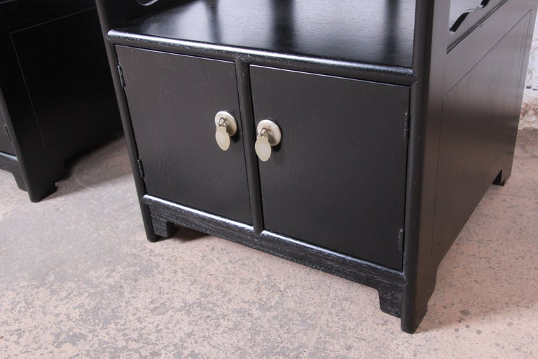 Michael Taylor for Baker Far East Collection Ebonized Nightstands, Restored For Sale 2