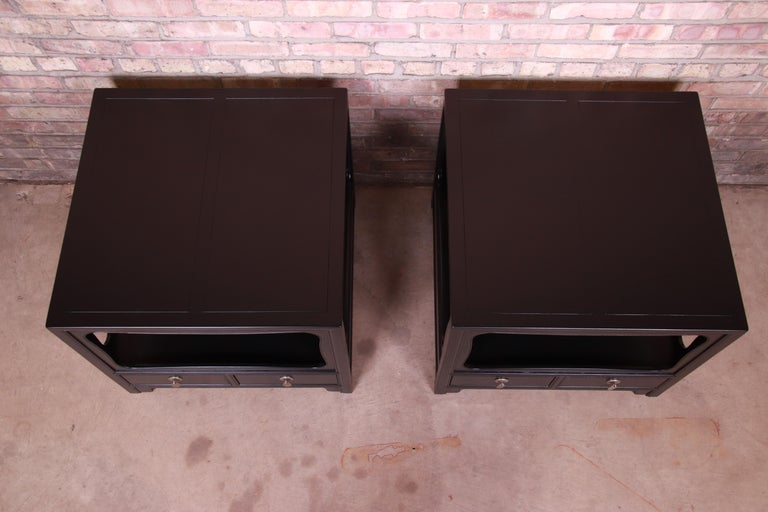 Mid-20th Century Michael Taylor for Baker Far East Collection Ebonized Nightstands, Restored For Sale