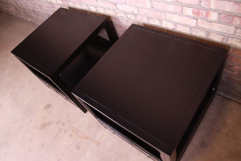 Nickel Michael Taylor for Baker Far East Collection Ebonized Nightstands, Restored For Sale