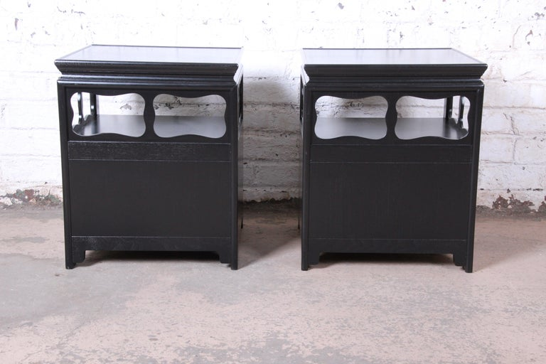 Michael Taylor for Baker Far East Collection Ebonized Nightstands, Restored For Sale 5