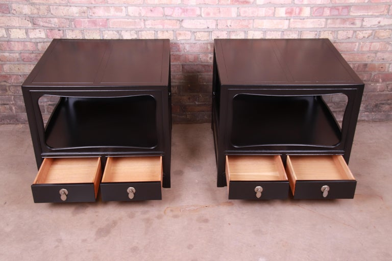 Michael Taylor for Baker Far East Collection Ebonized Nightstands, Restored For Sale 1