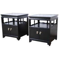 Michael Taylor for Baker Far East Collection Ebonized Nightstands, Restored
