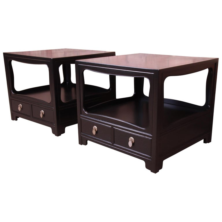 Michael Taylor for Baker Far East Collection Ebonized Nightstands, Restored For Sale