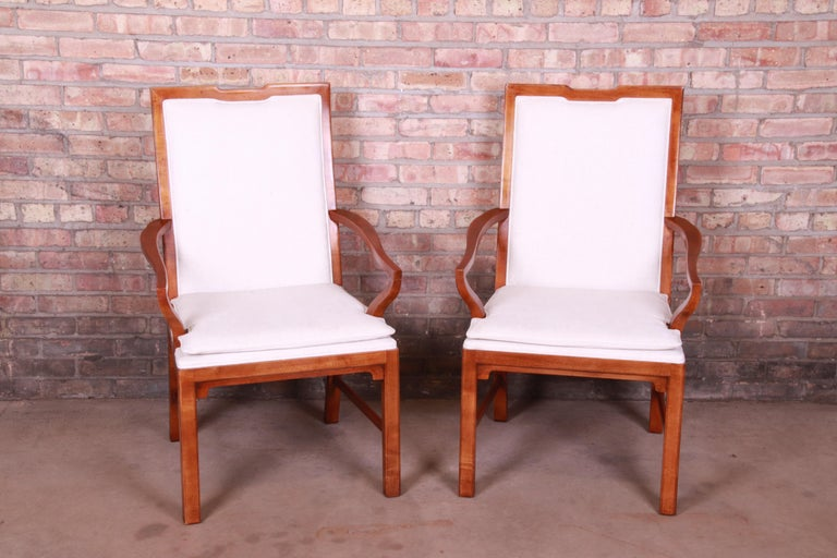 Mid-Century Modern Michael Taylor for Baker Far East Collection Walnut Armchairs, Pair