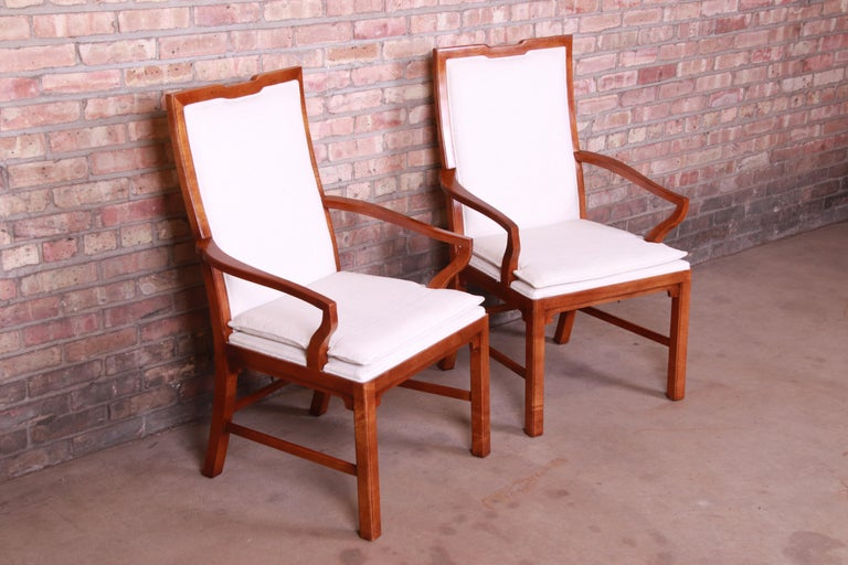 American Michael Taylor for Baker Far East Collection Walnut Armchairs, Pair