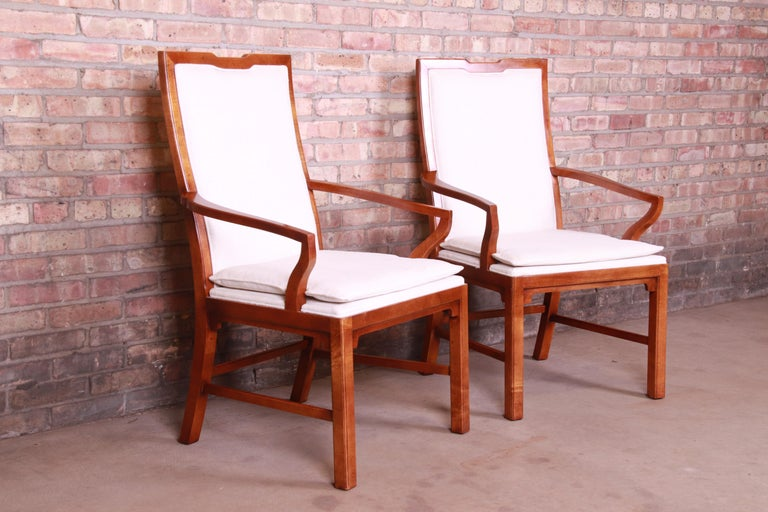 Michael Taylor for Baker Far East Collection Walnut Armchairs, Pair In Good Condition In South Bend, IN