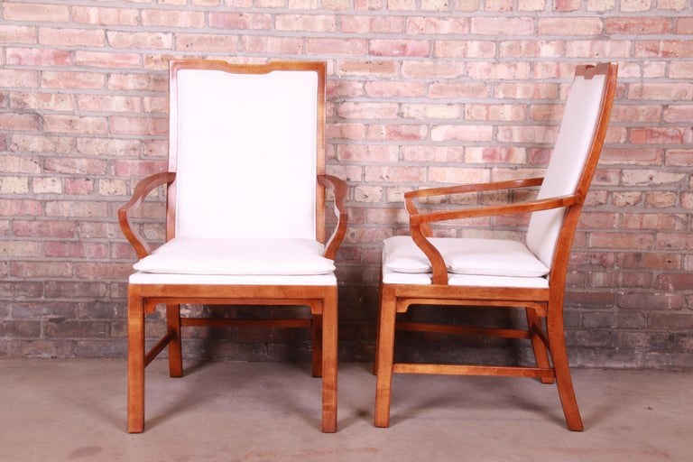20th Century Michael Taylor for Baker Far East Collection Walnut Armchairs, Pair