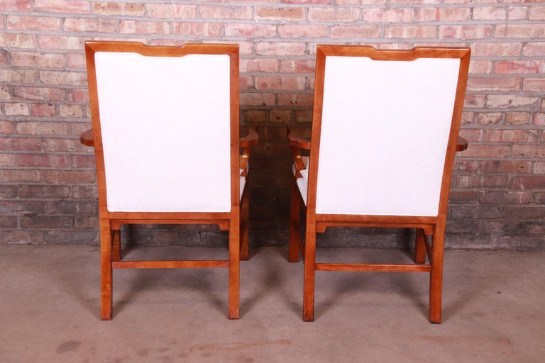 Upholstery Michael Taylor for Baker Far East Collection Walnut Armchairs, Pair