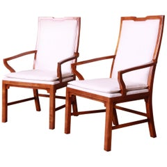 Michael Taylor for Baker Far East Collection Walnut Armchairs, Pair