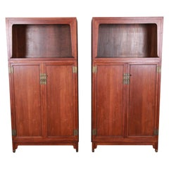Michael Taylor for Baker Far East Collection Walnut Bookcase Wall Units, Pair