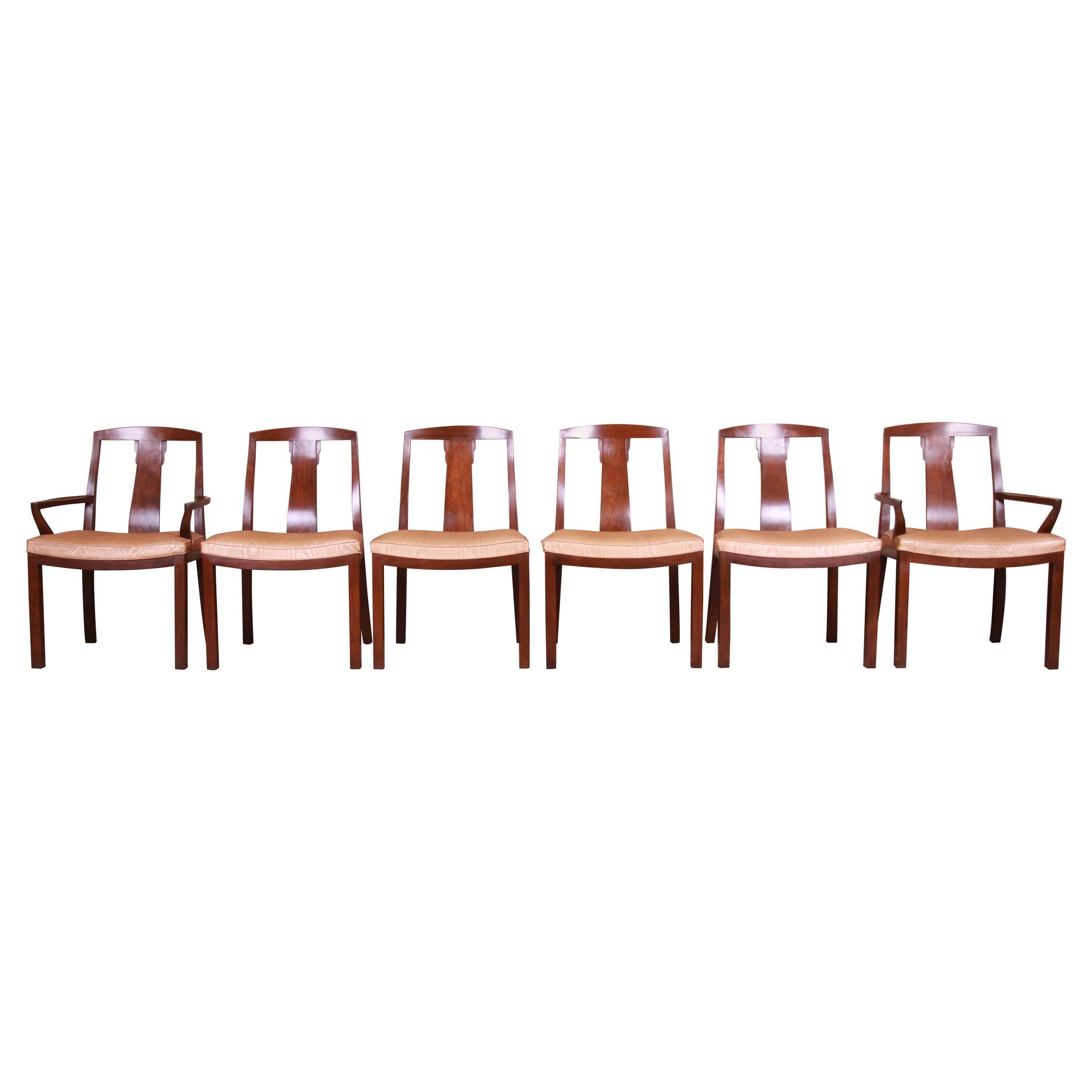 Michael Taylor for Baker Far East Collection Walnut Dining Chairs, Set of Six