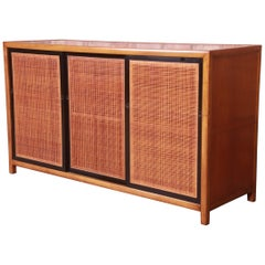 Michael Taylor for Baker Furniture Cherry and Cane Sideboard Credenza, 1950s