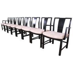 Michael Taylor for Baker Furniture Ebonized Dining Chairs, Set of Eight