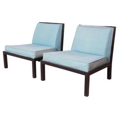 Michael Taylor for Baker Furniture Mid-Century Modern Slipper Chairs, Pair