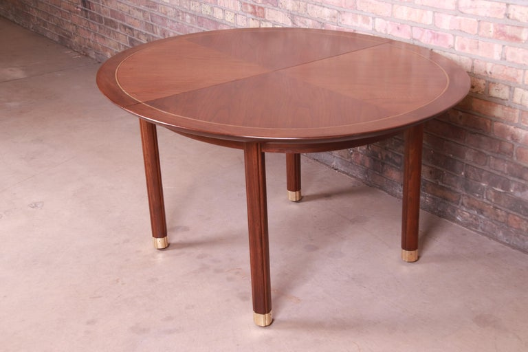 Michael Taylor for Baker Furniture Walnut and Brass Inlay Extension Dining Table For Sale 5