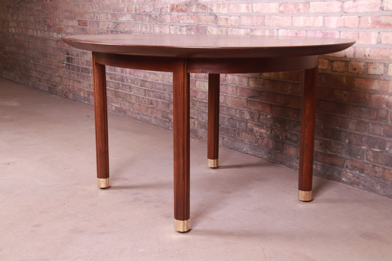 Michael Taylor for Baker Furniture Walnut and Brass Inlay Extension Dining Table For Sale 6