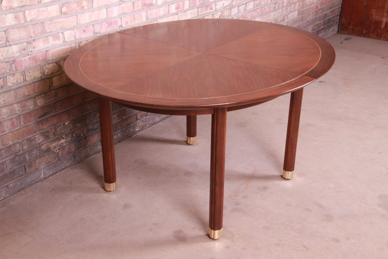 Michael Taylor for Baker Furniture Walnut and Brass Inlay Extension Dining Table For Sale 7