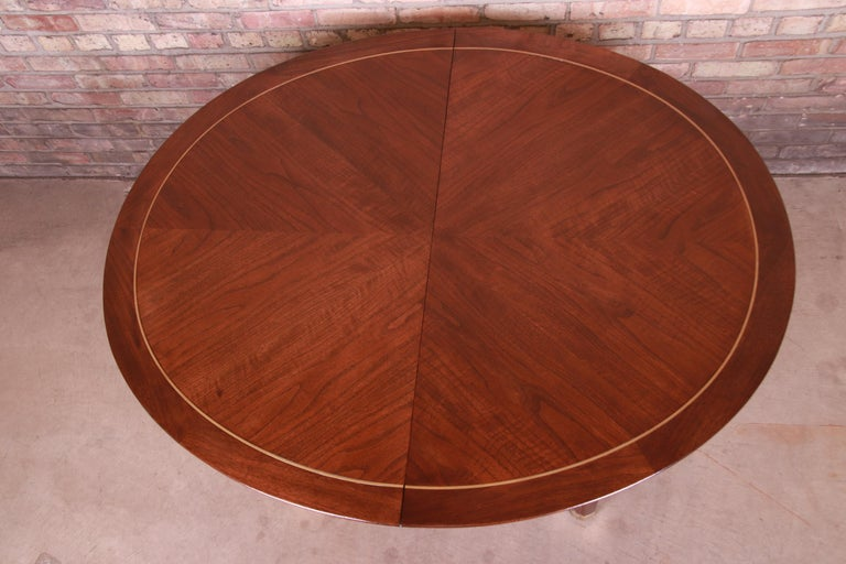 Michael Taylor for Baker Furniture Walnut and Brass Inlay Extension Dining Table For Sale 8