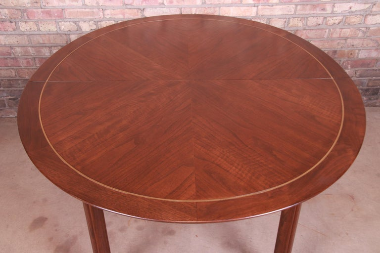 Michael Taylor for Baker Furniture Walnut and Brass Inlay Extension Dining Table For Sale 12