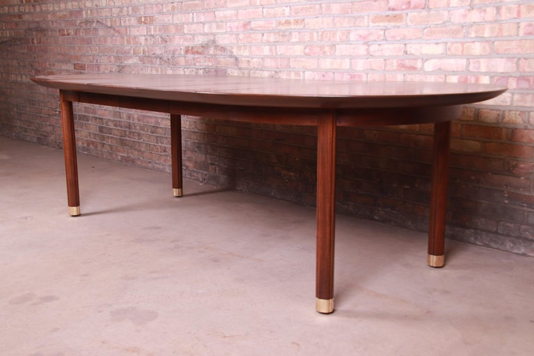 American Michael Taylor for Baker Furniture Walnut and Brass Inlay Extension Dining Table For Sale
