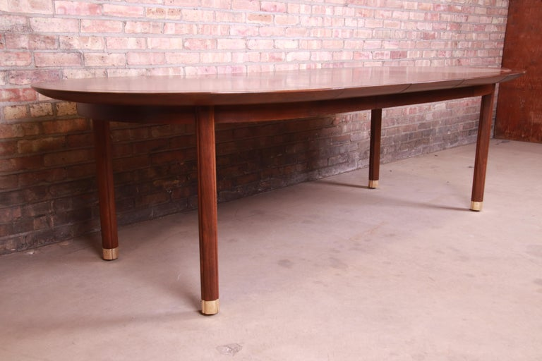 Michael Taylor for Baker Furniture Walnut and Brass Inlay Extension Dining Table In Good Condition For Sale In South Bend, IN