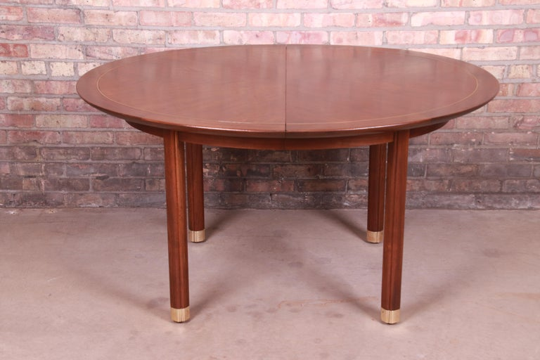 Michael Taylor for Baker Furniture Walnut and Brass Inlay Extension Dining Table For Sale 3