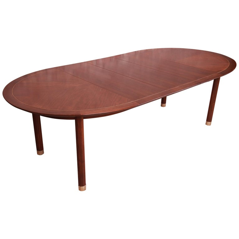 Michael Taylor for Baker Furniture Walnut and Brass Inlay Extension Dining Table For Sale