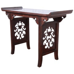 Michael Taylor for Baker Hollywood Regency Chinoiserie Console or Altar Table