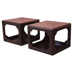 Michael Taylor for Baker Hollywood Regency Chinoiserie Cube Side Tables, Pair