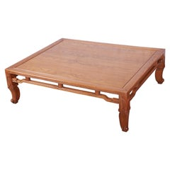 Michael Taylor for Baker Hollywood Regency Chinoiserie Elm Wood Coffee Table
