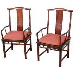 Michael Taylor for Baker Hollywood Regency Chinoiserie Walnut Armchairs, Pair