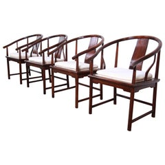 Michael Taylor for Baker Hollywood Regency Walnut Horseshoe Armchair, Set of 4
