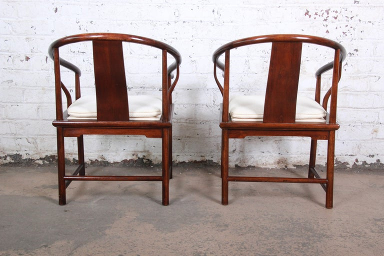 Upholstery Michael Taylor for Baker Hollywood Regency Walnut Horseshoe Lounge Chairs, Pair For Sale